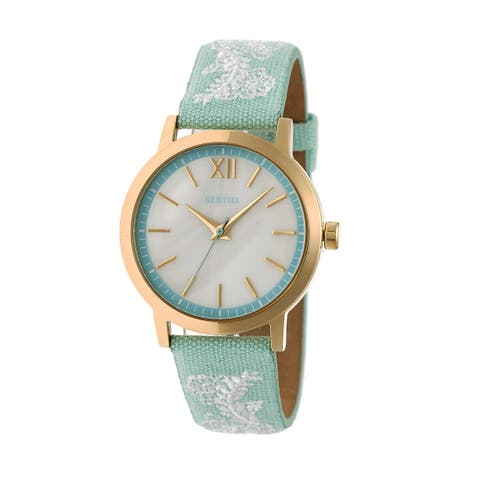 Bertha Penelope Women's Quartz Watch, Mother of Pearl Dial, Genuine Leather Band