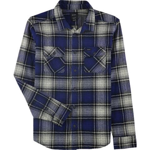 RVCA Mens Plains Flannel Button Up Shirt, Blue, Small