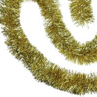50' Shiny Gold Festive Christmas Foil Tinsel Garland - Unlit - 8 Ply (Pack of 3)