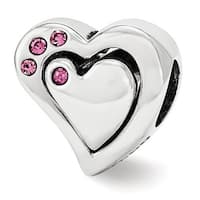 Sterling Silver Reflections Pink Swarovski Elements 2pc Heart Bead (4mm Diameter Hole)