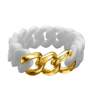Silix by Aya White Silicon Bracelet with 18K Gold-Plated Stainless Steel - Yellow