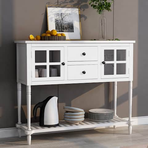 Sideboard Console Table Farmhouse White Buffet Storage Cabinet
