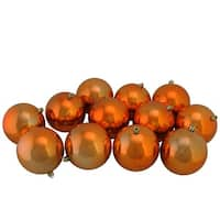 "12ct Burnt Orange Shatterproof Shiny Christmas Ball Ornaments 4"" (100mm)"