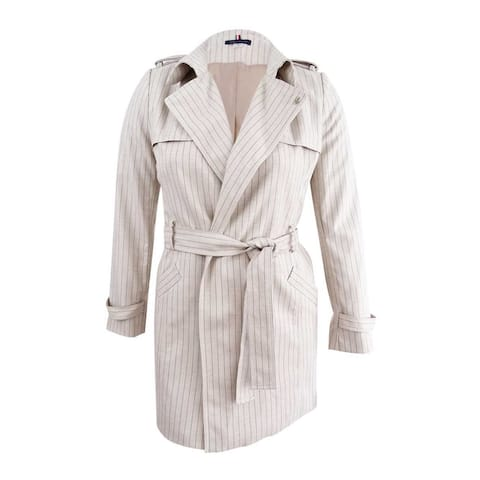 Tommy Hilfiger Women's Pinstriped Trench Coat (12, Sand/Midnight) - Sand/Midnight - 12