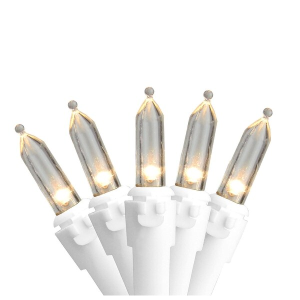 """Set of 50 Warm White LED Mini Christmas Lights 4"""" Spacing - White Wire - CLEAR"""