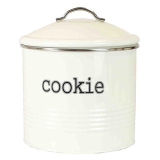 Home Basics Tin Cookie Jar, Ribbed Design, Ivory, 7.6x7.5 Inches