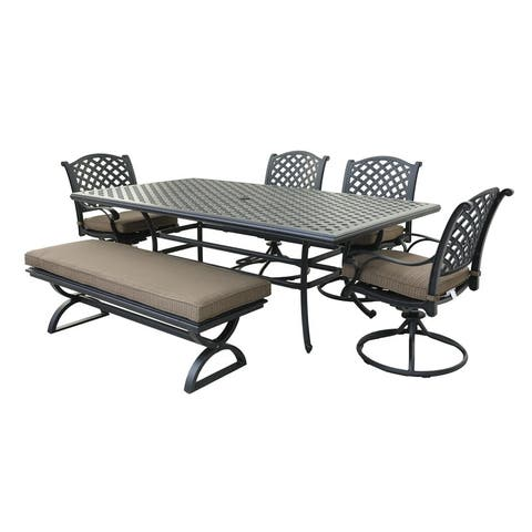 6 Piece Outdoor Aluminum Dining Set with Cushions