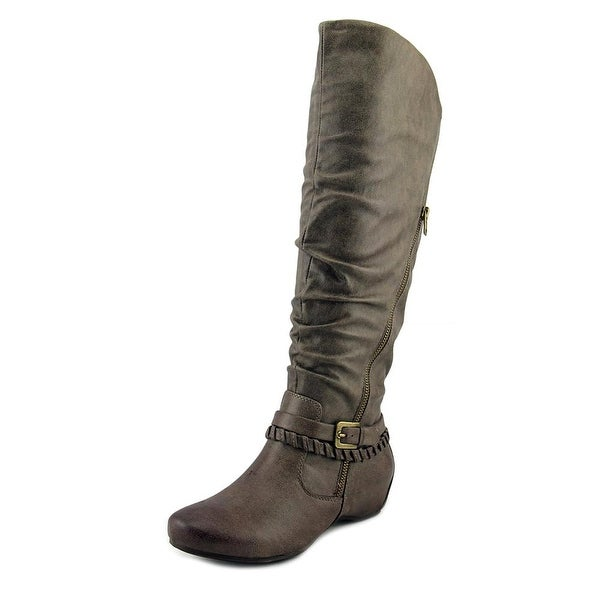 Baretraps Shania Wide Calf Women Round Toe Canvas Gray Knee High Boot