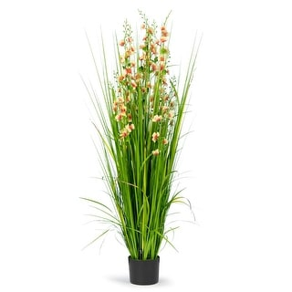 5 Feet High Artificial Reed with Decorative Yellow and Pink Flowers