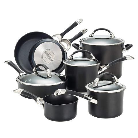 Circulon 87376 Symmetry Hard Anodized Nonstick 11-Piece Cookware Set in Black