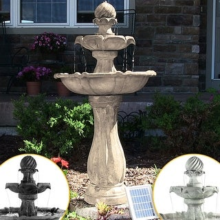 Sunnydaze 2-Tier Arcade Solar with Battery Fountain with LED - Color Options