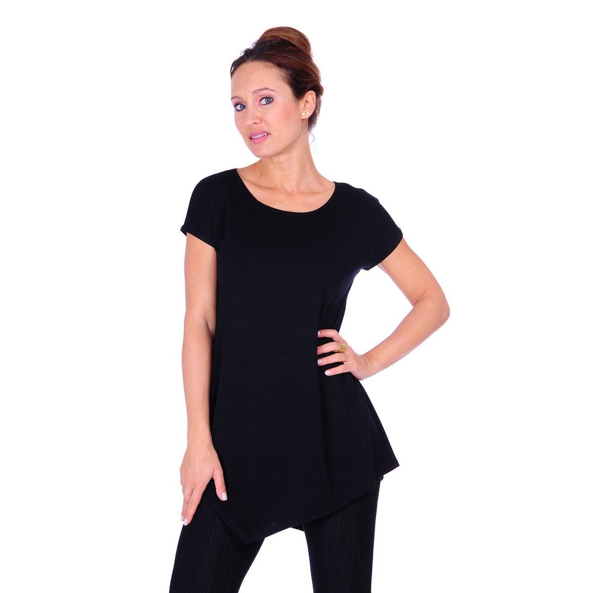 Simply Ravishing Women's Assymetrical Front/Back Handkerchief Hem Sleeveless Tunic Top - Thumbnail 6