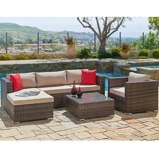 Link to Suncrown Outdoor 6-piece Brown Wicker Sectional Sofa and Chair Set Similar Items in Outdoor Sofas, Chairs & Sectionals