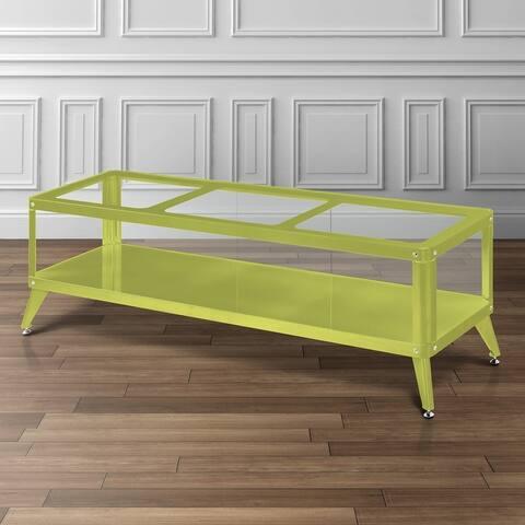 Furniture of America Hind Modern Metal Glass Top 1-shelf TV Console