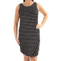 KENSIE Womens Black Striped Sleeveless Scoop Neck Above The Knee Sheath Dress  Size: S