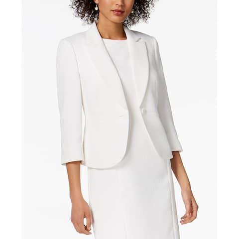 Kasper Womens Jacket Blazer White Size 10 Peak Collar Jacquard Textured
