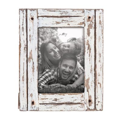 Foreside Home & Garden White 5 x 7 inch Decorative Distressed Wood Picture Frame