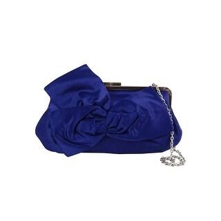 La Regale Bow Satin Clutch, Blue - One size