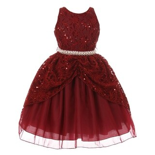 Chic Baby Girls Burgundy Lace Sequins Pearl Christmas Dress