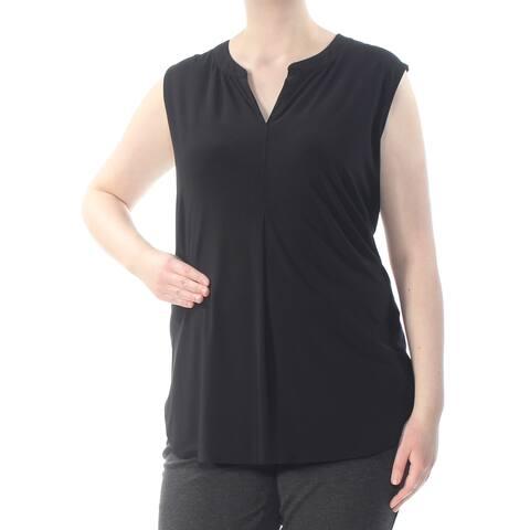 TAHARI Womens Black Shirred Split Sleeveless V Neck Top Plus Size: 2X