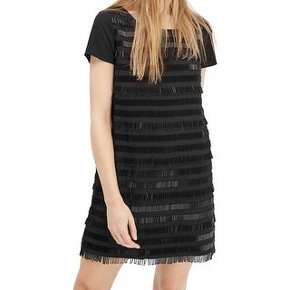 French Connection NEW Black Women's Size 0 Beaded Stripe Shirt Dress
