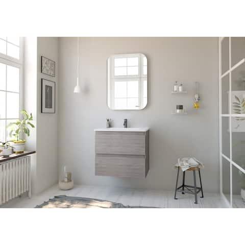 32 x 24 inch Steel Squared Mirror White Finish Decorative Metal Squared Wall Mirror