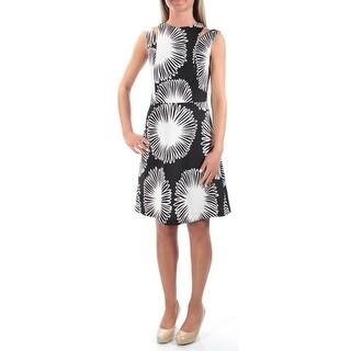 KENSIE $99 Womens 1157 Black Jewel Neck Sleeveless Fit + Flare Dress M B+B