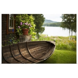 """Wooden rowboat in backyard"" Poster Print"
