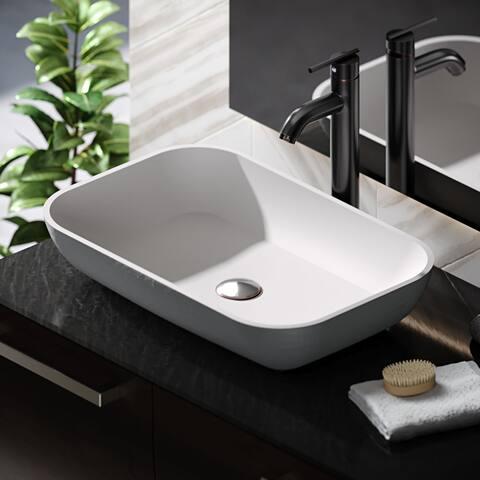 R11-5002-Platinum Stone Composite Rectangular Vessel Sink Kit