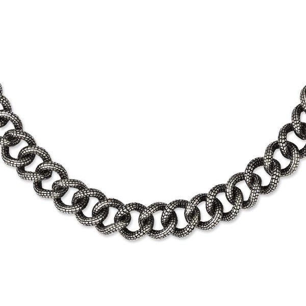 Chisel Stainless Steel Antiqued & Textured Links 24in Necklace (15 mm) - 24 in