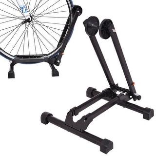Costway Bicycle Bike Floor Parking Storage Stand Display Rack Folding Holder Black