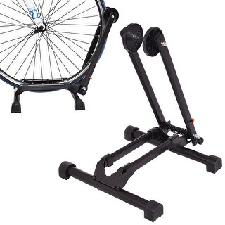 Costway Bicycle Bike Floor Parking Storage Stand Display Rack Folding Holder Black