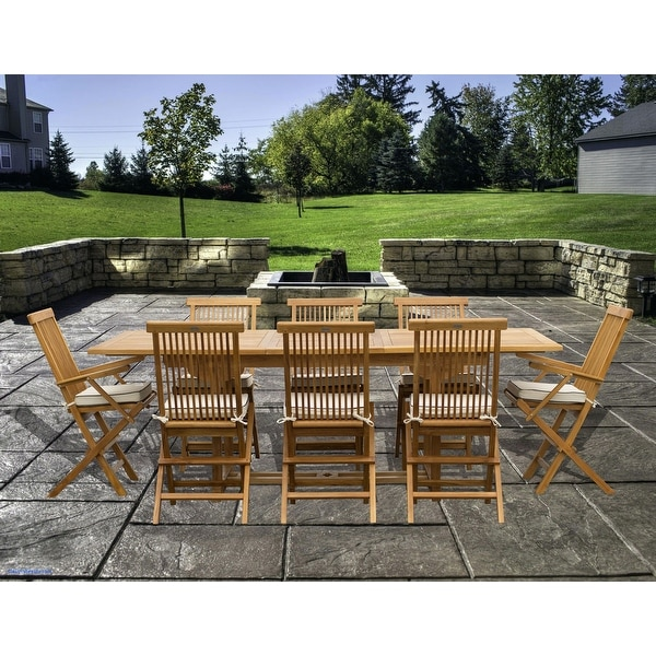 9 Piece Teak Wood Miami Patio Dining Set with Rectangular Extension Table, 8 Folding Arm and Side Chairs. Opens flyout.