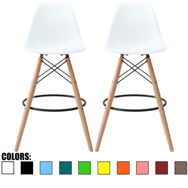 Shop 2xhome Set Of 2 25 Designer Eiffel Chairs Counter Stools With Backs Side Molded Shell Kitchen Office Dining Dowel Bar Patio On Sale Overstock 17632557