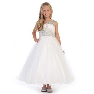 Angels Garment Little Girls White Heavily Beaded Flower Girl Dress 3-6