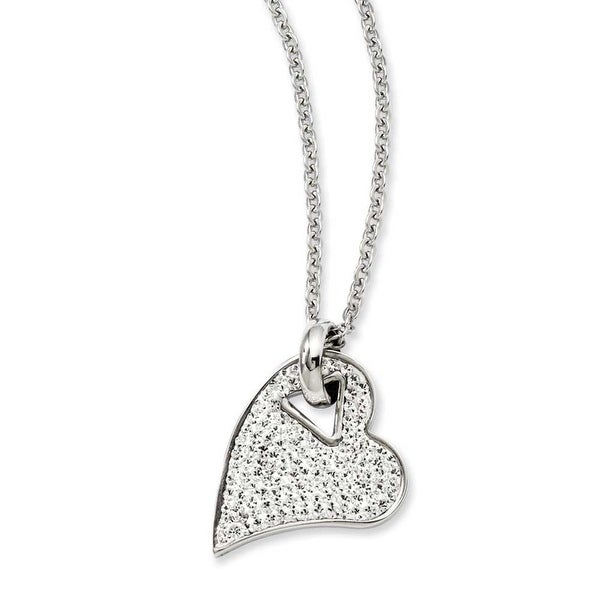 Stainless Steel Clear Crystal Heart Pendant 20in Necklace (2 mm) - 20 in