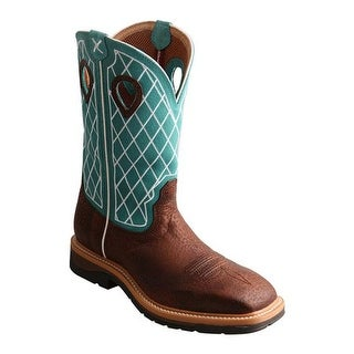 Twisted X Boots Men's MLCS021 Lite Weight Cowboy Work Boot Brown Distressed/Turquoise Leather