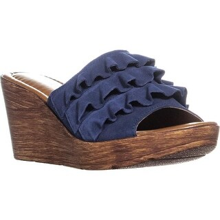 Bella Vita Bey-Italy Ruffled Wedge Sandals, Navy Italian Suede - 8.5 us