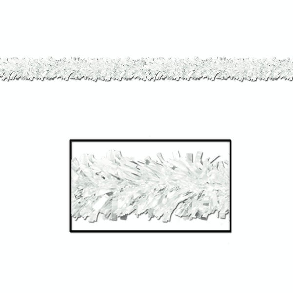Pack of 12 Shiny Metallic White Tinsel 6-Ply Christmas Garlands 15' - Unlit