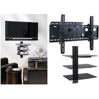 2xhome - NEW TV Wall Mount Bracket (Single Arm) & Triple Shelf Package - Secure Cantilever LED LCD Plasma Smart 3D WiFi