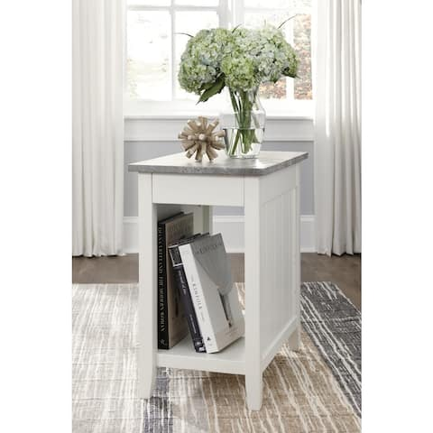 Diamenton White Chairside End Table