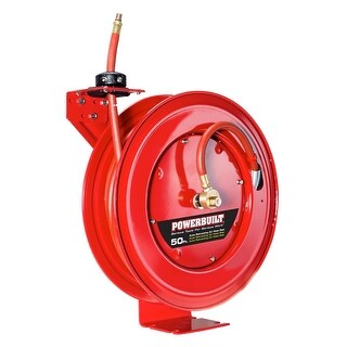 "Powerbuilt Heavy Duty Auto Retract Air Hose Reel with 3/8"" x 50' Hose - 642228"