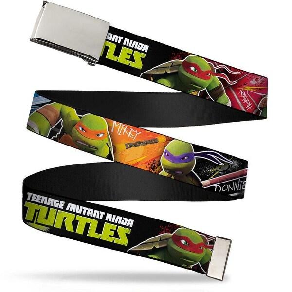 Blank Chrome Buckle New Series Teenage Mutant Ninja Turtles Logo1 Web Belt