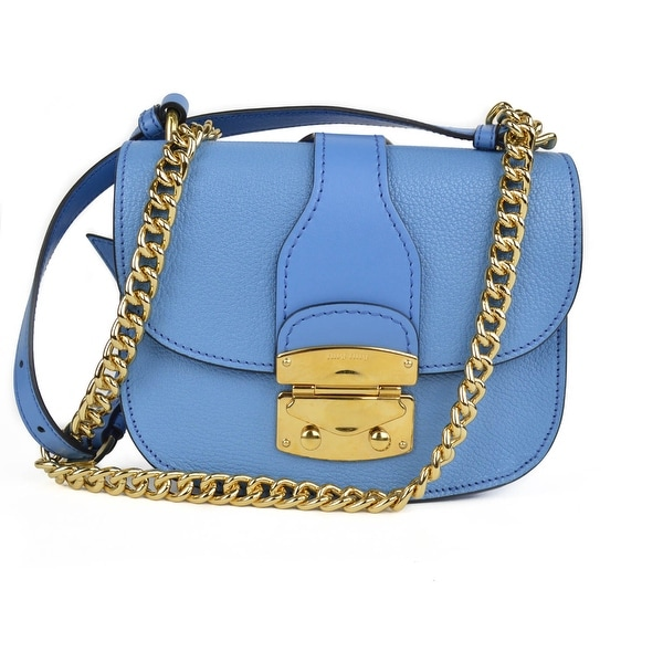a174260464d6 Shop Miu Miu Blue Madras Matelasse Small Flap Crossbody Shoulder Bag ...