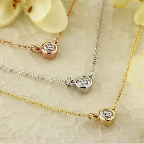Auriya 1/4ctw Round Solitaire Diamond Necklace 14k Gold Bezel-set - 4mm