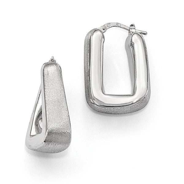 Italian Sterling Silver Polished & Satin Hoop Earrings
