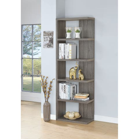 Keaton Contemporary Weathered Grey 5-shelf Bookcase
