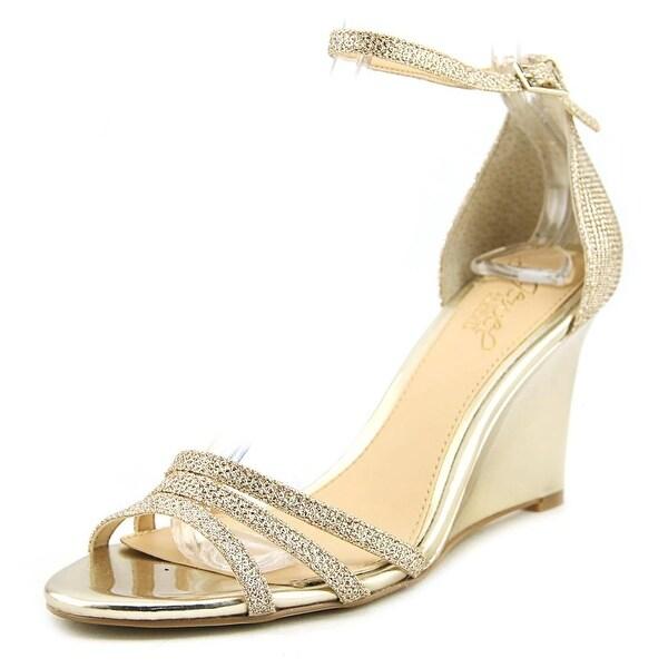 6298df4d1a864 ... SHOES ANKLE STRAPPY HIGH HEELS. Jewel Badgley Mischka Antonette Women  Open Toe Canvas Gold Wedge Heel