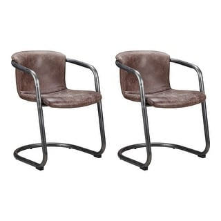 Link to Aurelle Home Rustic Leather Dining Chair (Set of 2) - 27 x 25 x 32 - 27 x 25 x 32 Similar Items in Dining Room & Bar Furniture
