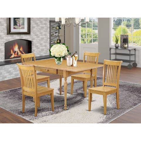 Drop Leaf Dining Room Table and Hardwood Seat Kitchen Chairs (Number of Chairs Option)